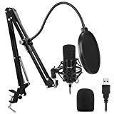 ZAFFIRO USB-Mikrofon-Kit Plug & Play USB-Computer Nierenmikrofon-Podcast-Kondensatormikrofon mit USB PC Mikrofon professionellem Sound-Chipset für PC Karaoke, YouTube, Gaming-Aufnahme