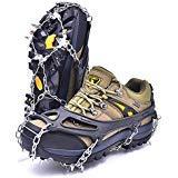 LEANKING Schuhspikes Schuhkrallen mit 18 Zähnen, Silikon Schneeketten Steigeisen mit Edelstahlspikes für High Altitude Wandern EIS Schnee (Black, L)
