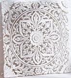 Wandbild Shabby Chic geschnitzt Ornament zum Hängen/Stellen MDF ca. 60 x 60 cm