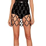 Sexy Punk DS Kostüm Leder Weaved Body Harness Rock Gürtel Taille Bein Strumpf mit Metallkette für Frauen,Black,M