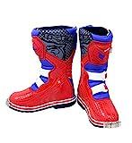 XSWE Motocross-Stiefel, Motorradschuhe Racing Stylist Ankle Boot, Wasserdichte und Rutschfeste Track-Stiefel für Straßenrennen Radfahren,Red,UK11.5(EU46)