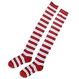 BESTOYARD 1 Paar Streifen Kniestrümpfe Overknees Strümpfe Rote und Weiße Strumpfhosen Weihnachten Kostüm Cosplay Socken für Frauen Mädchen