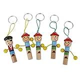 HarmonyHappy Piratenpfeife aus Holz, mit Schlüsselanhänger, 5 Stück