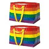Ikea KVANTING Große 71 L Pride Rainbow Wiederverwendbare Tragetaschen, 2er-Set