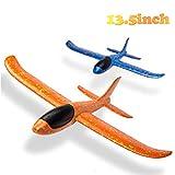 BeYumi 2pcs Flugzeug, manuelles Wurfspiel, Spaß, Herausforderung, Outdoor-Sport-Spielzeug, Schaumstoffflugzeugmodell, blau & orange Flugzeug