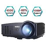 Beamer, WiMiUS Upgrade 1080P HD 4500 Lumen 200' LCD Beamer, Kompatibel mit Amazon Fire TV Stick Laptop Smartphone Xbox über HDMI USB VGA AV