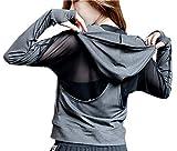 POUREVE Laufjacke Damen Sportjacke, Jacken Frauen Running Sweatshirts Tops, Damen Sport Hoodies Zippe Sportbekleidung Gym Outdoor-Bekleidung Fitness Kleidung für Damen (Grau, XL)