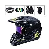 LEENY Motocross-Helm - Herren Motorrad Off-Road-Helm mit Brille/Maske/Handschuhe/Schloss, Cross-Helm DH Enduro ATV BMX Quad Motorradhelm für Männer Damen, Matt Schwarz,L