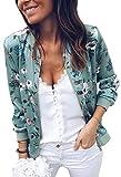 ECOWISH Damen Casual Jacke Blumenmuster Langarm Bomberjacke Reißverschluss Stehkragen Outwear Kurz Coat Herbst Frühling Grün L