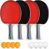 Tischtennis-Set – 4 Premium Tischtennis-Schläger + 8 Tischtennis-Bälle + Aufbewahrungstasche + GRATIS EBOOK - Ideal für Anfänger, Familien und Profis mit 100% Zufriedenheitsgarantie, 14-Teilig