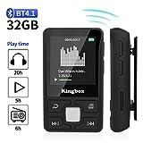 MP3 Player, Kingbox 32GB Bluetooth 4.1 Mini Sport MP3 Player mit Clip, HiFi Verlustfreier Sound Musik Player, Unterstützt bis 128 GB SD Karte