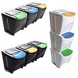 Mülleimer Abfalleimer Mülltrennsystem 60L - 3x20L Behälter Sorti Box Müllsortierer 3 Farben von rg-vertrieb (Anthrazit)