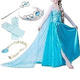 Yigoo Eiskönigin Prinzessin Kostüm Kinder Glanz Kleid Mädchen Weihnachten Verkleidung Karneval Party Halloween Fest mit Krone 120