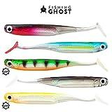 FISHINGGHOST LURIEone - 5 Gummifische 11,5cm, 5gr zum Angeln auf Zander, Barsch, Hecht und Forelle