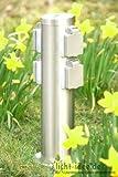 Steckdosensäule 4-fach Steckdose Edelstahl Gartensteckdose durchschleifbar mit Kinderschutz