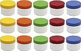 15 Salbendöschen, Creme-döschen, Salbenkruke flach, 35ml Inhalt mit farbigen Deckeln - MADE IN GERMANY