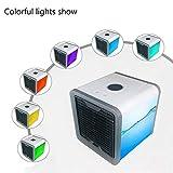 HSQA Luftkühler Portable Mini Personal Air Conditioner Einstellbare 7 Farbe Licht Kein Wasserleck Mit Luftbefeuchter Abnehmbarer Filter