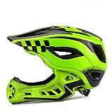 YXZN Full Face Helm Fahrrad Kinder Helme Fahr Sicherheitsausrüstung Abnehmbar,Green,M