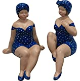 LS-LebenStil Deko-Objekt Set 2X Deko-Figur Molly Maritim Blau Weiß Badeanzug Bad-Deko