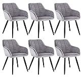 WOLTU 6 x Esszimmerstühle 6er Set Esszimmerstuhl Küchenstuhl Polsterstuhl Design Stuhl mit Armlehne, mit Sitzfläche aus Samt, Gestell aus Metall, Grau, BH93gr-6