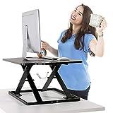 PUTORSEN Höhenverstellbar Sitz-Steh-Schreibtisch Computertisch - Schreibtischaufsatz Steharbeitsplatz Standtisch - Tabletop Stehpult Konverter für Ergonomic Comfort (32'' - Schwarz)