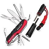 Schweizer Messer| Feuerstahl, Morpilot 15 in 1 Multitool Messer und 4 in 1 Feuerstein, mit Schraubendreher, Schere, Säge, Compass