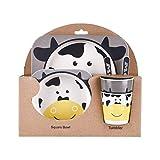 Lidahaotin Kinder-Geschirr-Set 5er Baby-Bambusfaser-Cartoon Bowl Tier Geschirr Set Kleinkind-Cup-Löffel-Gabel #5
