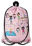 Aminata Kids - Kinder-Turnbeutel für Mädchen mit Tanz-Sport Ballett Ballerina Tanzen Turnerinnen Balletttasche Tänzerin Sport-Tasche-n Gym-Bag Sport-Beutel-Tasche rosa Weiss-e