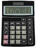 Taschenrechner - Business Qualität - Standard Taschenrechner - 12-stelligem, Großes LED-Disply, Solar und Batterie betrieb - Tischrechner (Schwarz)