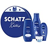 NIVEA Geschenkdose Schatzkiste, Geschenkset für Frauen mit Pflegedusche, Hand Creme, Body Milk & Pflege Creme, pflegendes Beauty Set