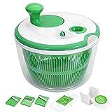 GreensKon Großer Salatrotierer mit 3 Mandolinen und 1 Eiertrenner, Salatschleuder/Trockner mit Schüssel, Kunststoff, BPA-frei, Grün, 5 l