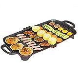 YAOZEDI-ElectricGrills Große elektrische BBQ-Antihaft-Teppanyaki-Tischplatte-Grillkochplatte mit einstellbarem Thermostat, Fettauffangschale, 1201W-1500W, Schwarz