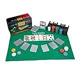 Relaxdays Pokerset, 200 Chips, Spielmatte, 2 Kartendecks, Dealerbutton, Blindbuttons, Casino-Feeling, Profi Pokerspiel