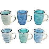 esto24 6er Set Kaffeebecher Porzellan 350ml in tollen Farben für Ihr liebstes Heißgetränk für Kaffee, Cappuccino und Latte Macchiato