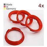 KONIKON 4X Zentrierringe 63,4 x 57,10 mm Rot Felgen Ringe Radnaben Zentrierring Adapterring Ring Felgenring Distanzring Made in Germany