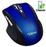 Bluetooth Silent Wireless wiederaufladbare Maus - Tsmine wiederaufladbare kabellose optische Maus für PC, Mac und Android OS Tablet (nicht für iPhone oder iPad), 3 einstellbare DPI, 6 Tasten - Blau