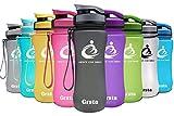 Grsta Sport Trinkflasche 32oz-1000ml - Wasserflasche Auslaufsicher, Eco Friendly BPA Frei Tritan Kunststoff Flaschen mit Frucht Filter, Sporttrinkflasche für Kinder, Gym,Yoga,Laufen,Camping (Schwarz)