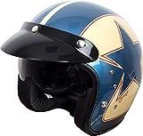 Duchinni D501 Jethelm Retro Motorrad Helm Blau/Rot - Rot/Blau, Large
