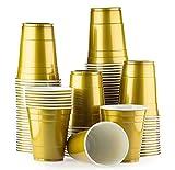 Red Celebration Gold Cups 100 Pack Golden bechern - Beer Pong American Party tassen Original 500 ml - mehrere Farben - Student & Geburtstag   16oz Große Plastik Becher Trink Glas Einweg Geschirr