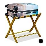 Relaxdays Kofferständer Holz, klappbar, Gepäckablage, Kofferaufbewahrung, für Reisegepäck, HxBxT: 52,5x66,5x48 cm, Natur