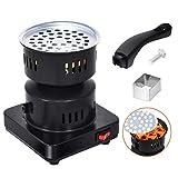 MEGAN Elektrischer Shisha-Kohle-Starterbrenner Shisha-Grill-Starter-Kohlebrenner mit herausnehmbarem Tablett und Abnehmbarer Zange