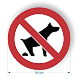 Sicherheitsschild – Hunde-Verboten-Symbol, Aufkleber, selbstklebend, 95 mm Durchmesser, 6 Stück