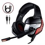 CHEREEKI Gaming Headset für PS4, Gaming Kopfhörer mit Mikrofon, LED Light Bass Surround und Lautstärkeregler für Xbox One, Laptops, Mac, Tablet und Smartphone (Rot)