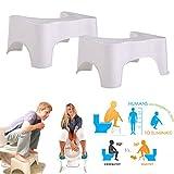 2 x WC-Hocker Toilettenhocker Toilettenhilfe Tritthocker für eine bessere Körperhaltung auf der Toilette für Kinder oder Erwachsene rutschfest weiß