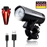 LED Fahrradbeleuchtung Set, Wasserdichte USB Fahrradlicht/Fahrradlampe, LED Fahrrad Frontlicht Set mit 2000MAh Wiederaufladbarem Akku, meistens 50 Meter Beleuchtung, geeignet an Fahrrad und Helm