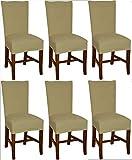 Bellboni Stuhlhussen creme, 6er Pack, hochwertige Stuhlbezüge, Stuhlüberzüge, passend für viele Stuhlgrößen elastisch, bi-elastic