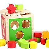 B&Julian Steckspiel aus Holz mit bunt Formenwürfel oder Zahlen in Steckbox (Formenwürfel)