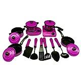 Likeluk Küche-Spielzeug Kinder 13 Stück Kindergeschirr Kinder Kochgeschirr Spielset mit Küchenhelfer und Pfannen Töpfe vorgeben Spielen Kinder-Bildungs-Spielzeug (Lila)