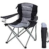 SONGMICS XL Campingstuhl, klappbar, mit gepolstertem Sitz, groß und komfortabel, Klappstuhl mit robustem Gestell, bis 150 kg belastbar, Outdoor Stuhl, schwarz GCB07BK