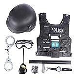 Rolanli Kinder Polizei Set, 8 Stück Kinder Polizei Kostüm Simulation Polizei Spielset für Rollenspiel